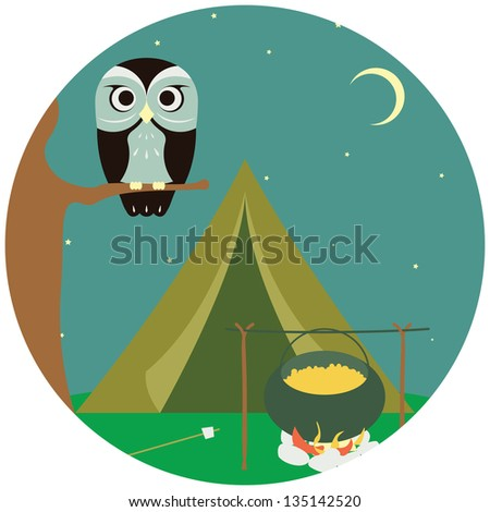 Camping wooden with tent and owl. Vector illustration - stock vector