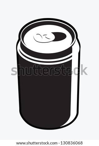 CAN black and white item isolated on white background - stock vector