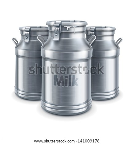 can container for milk isolated on white background - EPS10 vector illustration - stock vector