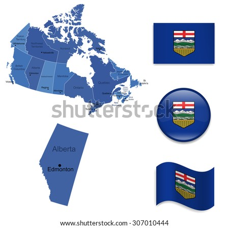 Canada-Alberta-Map and Flag Collection - stock vector