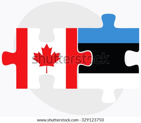 Canada and Estonia Flags in puzzle isolated on white background - stock vector