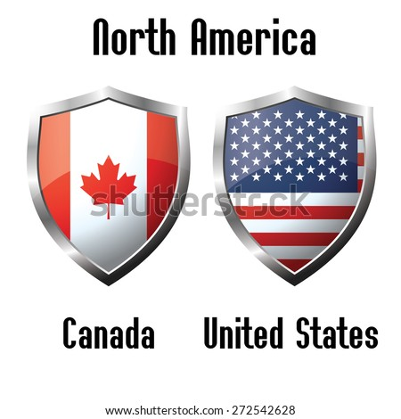 Canada and USA flag icons theme, vector - stock vector