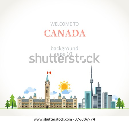 Canada background panorama - stock vector