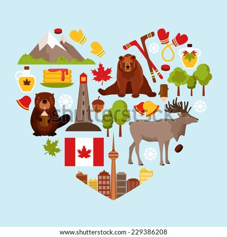 Canada colored decorative elements set in heart shape vector illustration. - stock vector
