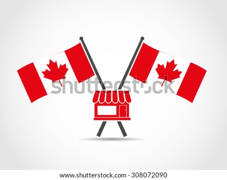 Canada Crossed Flags Emblem Store - stock vector