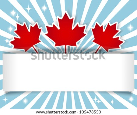 Canada Day. Holiday Banner with stickers and maple leaves. 10 EPS. Vector illustration. - stock vector