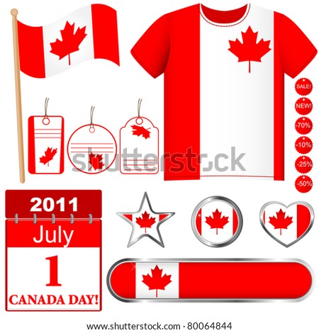 Canada Day. Set of icons and buttons. Vector.