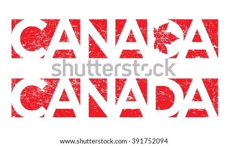 Canada design done in grunge style - stock vector