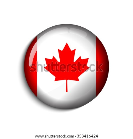 Canada flag button on a white background. Vector illustration. - stock vector