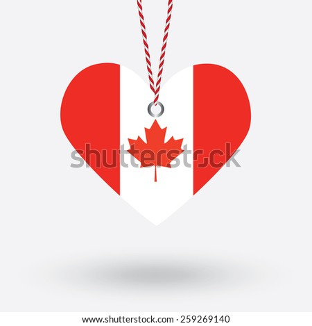 Canada flag in the shape of a heart with hang tags - stock vector
