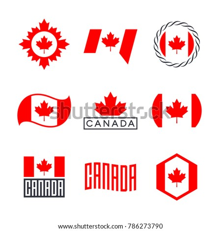 Canada Flag Logo Design Graphics Canadian Stock Vector 786273790
