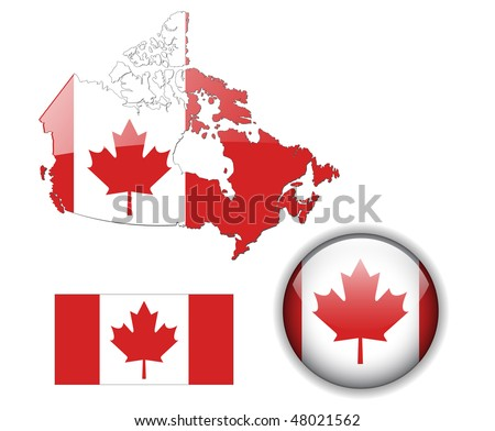 Canada flag, map and glossy button, vector illustration set. - stock vector