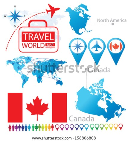 Canada. flag. North america. World Map. Travel vector Illustration. - stock vector