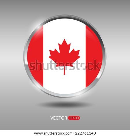 Canada flag, shiny, glossy metal vector badge - stock vector