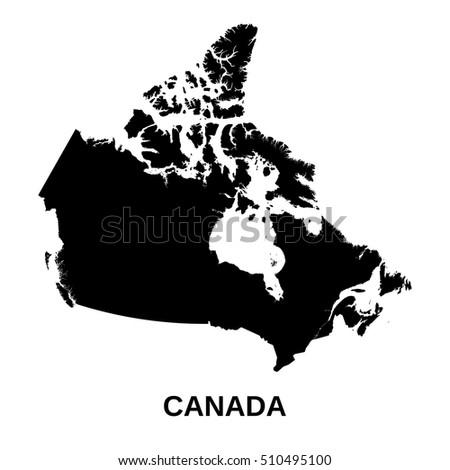 Black White Map Canada Stock Vector 163602422 Shutterstock