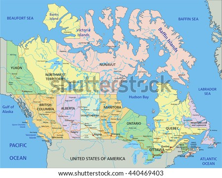 Canada Highly Detailed Editable Political Map Stock Photo Photo