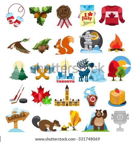 canada icons canada symbols stock vector 331748069