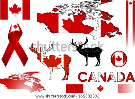Canada Icons Set Vector Graphic Images Stock Vector ...