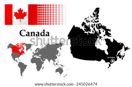 Canada info graphic with flag , location in world map, Map and the capital ,Ottawa, location.(EPS10 Separate part by part) - stock vector