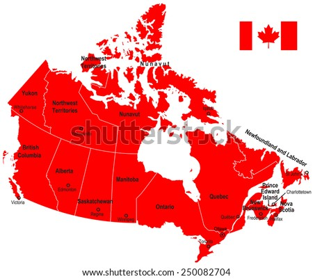 Canada Map and Flag - stock vector