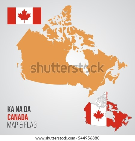 Vector Map Flag Canada Stock Vector Shutterstock - Canada map with flag