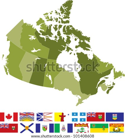 Canada Map and Flags - stock vector