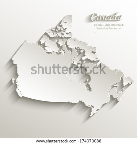 Canada map card paper 3D natural vector  - stock vector