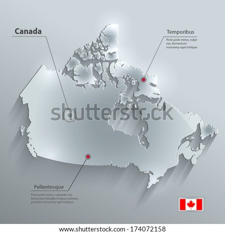 Canada map flag glass water card paper 3D vector  - stock vector
