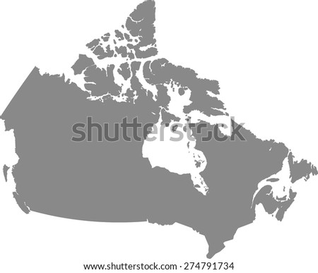 Canada map outlines in grey background for designing brochure template, advertising design for tourist map, and web-page template or construction - stock vector