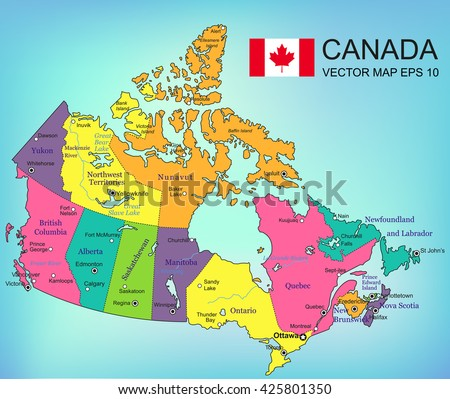 Canada map with provinces. All territories are selectable. Vector illustrtation - stock vector