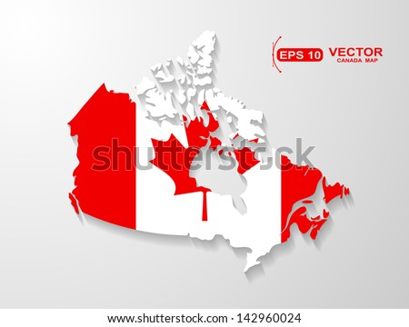 Canada map with shadow effect  - stock vector