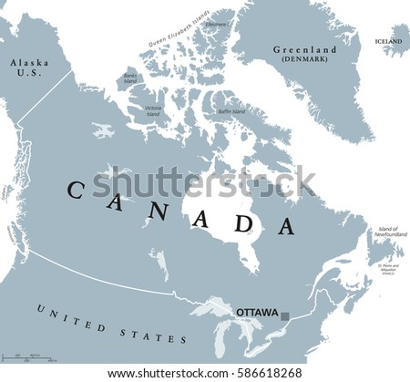 Canada Political Map Capital Ottawa National Stock Vector - Ottawa on the us map