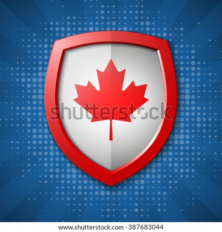 Canada set shiny buttons and shields of flag with frame - vector illustration. Isolated abstract object against gray background.