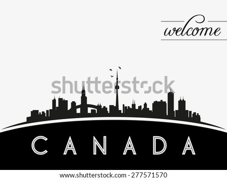 Canada skyline silhouette, black and white design, vector illustration - stock vector