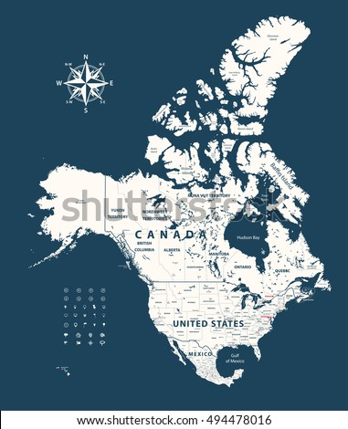 canada united states and mexico map with states borders on dark blue background