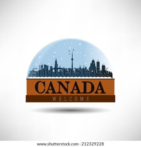 Canada, United States of America city skyline silhouette in snow globe. Vector design. - stock vector