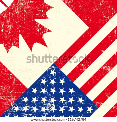 Canadian and american grunge flag - stock vector