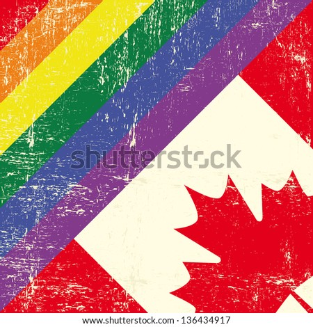 canadian and gay grunge Flag. Mixed grunge gay flag with canadian flag.