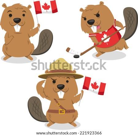 Canadian Beaver Holding Canada Flag Beaver Stock Vector Royalty