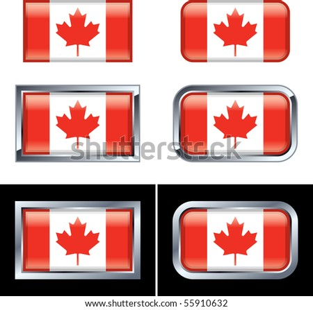 Canadian Flag Buttons - stock vector