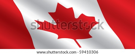 Canadian Flag Flowing - stock vector