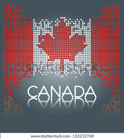 Canadian flag from square blocks, vector - stock vector