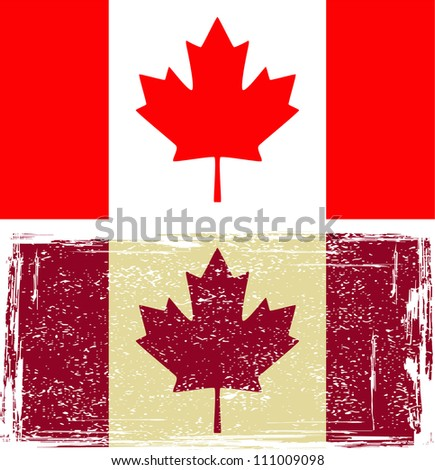Canadian flags. Grunge effect can be cleaned easily. - stock vector