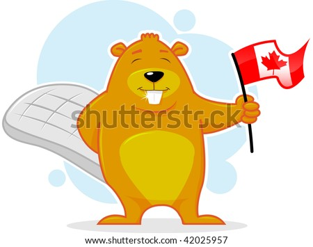 Canadian Happy Beaver with flag vector illustration - stock vector