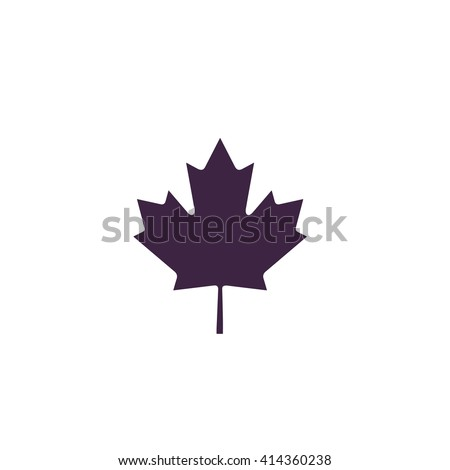 Canadian Leaf Simple flat blue vector icon on white background - stock vector