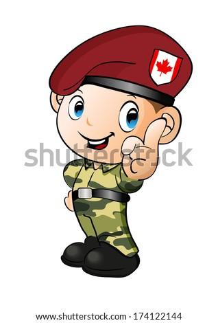 canadian soldier , vector illustration ,cartoon style  - stock vector