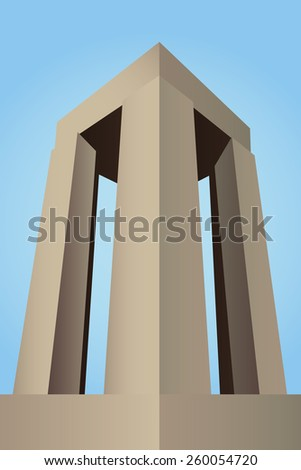 Canakkale Martyrs' Memorial, Turkey for battle of Gallipoli vector, cyan background - stock vector