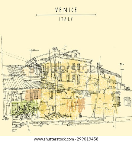 Canal bank in Venice, Italy. Vertical vector vintage engraved illustration, hand drawn on paper. Quick travel sketch with Venice Italy hand lettering.  Retro style postcard template. Editable picture - stock vector