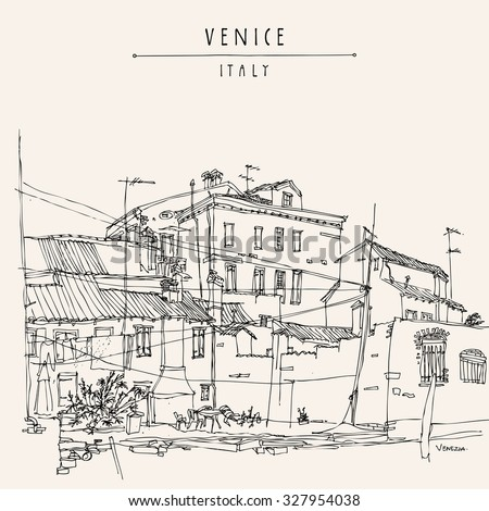 Canal bank in Venice, Italy. Vintage engraved illustration, hand drawn on paper. Quick travel sketch with Venice Italy hand lettering. Postcard template in retro style. Vector