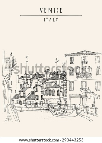 Canareggio, Venice, Italy, Europe with gondola, canal, facades. Touristic city view.  Vector art freehand illustration postcard. Vintage poster greeting card graphic design template, hand lettering